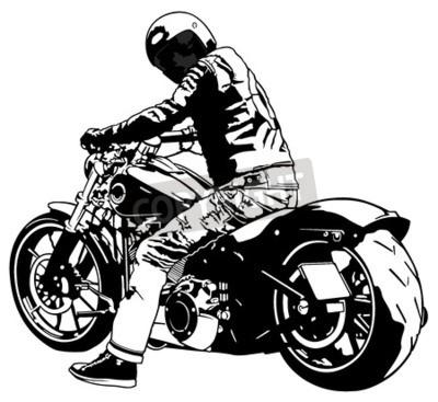 Canvastavlor Harley Davidson och Rider - Svartvit bild, vektor
