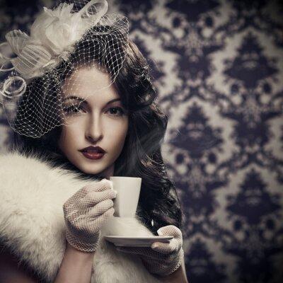 Canvastavlor Härligt Retro Lady dricka kaffe