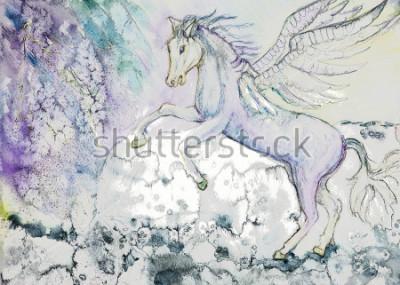Canvastavlor Häst med vingar i stormigt väder. Dabbingtekniken nära kanterna ger och mjuk fokuspåverkan på grund av pappersets förändrade yta.