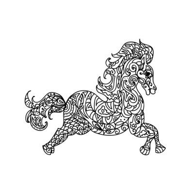 Canvastavlor häst zentangle