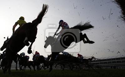 Canvastavlor Hästar hoppning staket