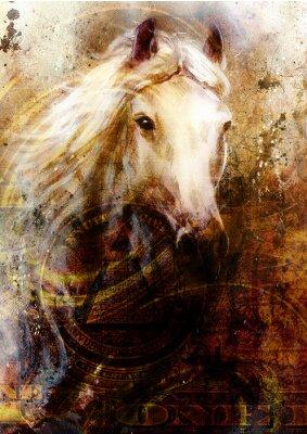 Canvastavlor Hästhuvuden, abstrakt ocre bakgrund, med en dollar collage.