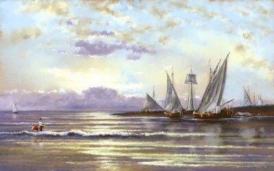 Canvastavlor Hav landskap, fiskare, oljemålningar digital