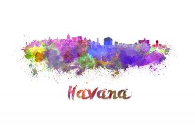 Canvastavlor Havanna skyline i vattenfärg