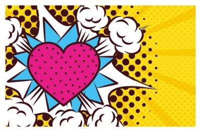 Canvastavlor heart love pop art style