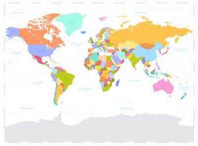 Canvastavlor Hi Detalj färgad vektor politiska världskarta illustration