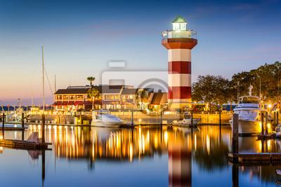 Canvastavlor Hilton Head, South Carolina, USA Fyr på skymningen