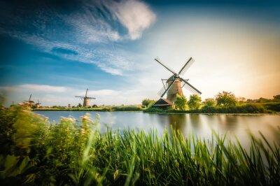 Canvastavlor Historiker Holländska väderkvarnar i närheten av Rotterdam