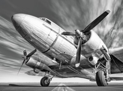 Canvastavlor historiska flygplan på en bana