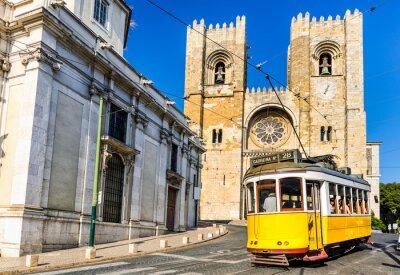 Canvastavlor Historiska gul spårvagn i Lissabon, Portugal