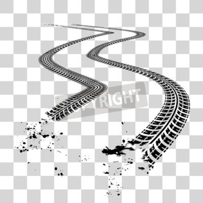 Canvastavlor Hjulspår. Vektor illustration på rutig bakgrund