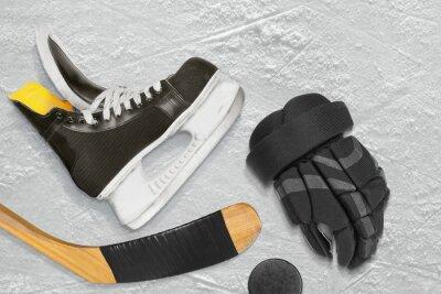 Canvastavlor Hockey skridskor, pinne, handskar och pucken