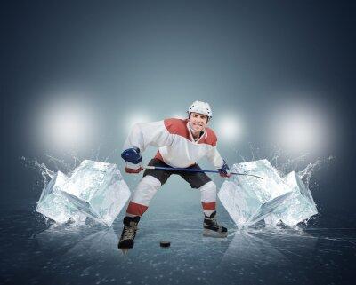 Canvastavlor Hockeyspelare med isbitar