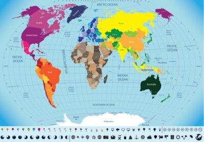 Canvastavlor hög detaljerad världskarta