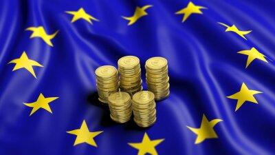 Canvastavlor Högar av euro guldmynt på vågig flagga av Europeiska unionens