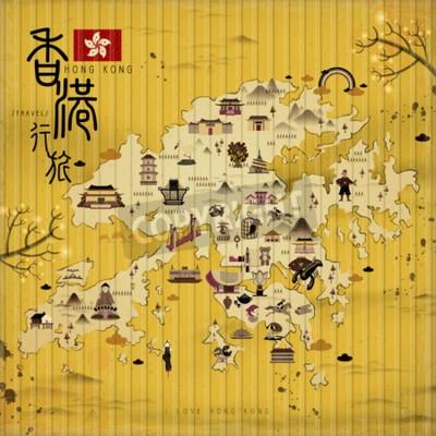 Canvastavlor Hong Kong resekartan med sevärdheter i retrostil - den övre vänstra titeln är resor Hong Kong kinesiska ordet