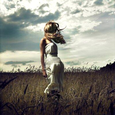Canvastavlor Hoppa kvinnor i vetefält