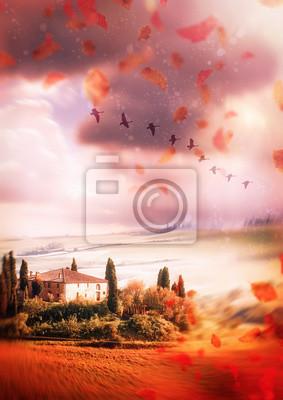 Canvastavlor Höst i Toscana. Bakgrund
