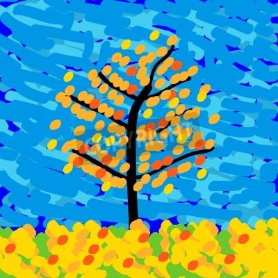 Canvastavlor Hösten landskap i stil med impressionismen. Vektor illustration.