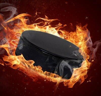 Canvastavlor Hot hockey puck i bränder flamma