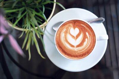 Canvastavlor hot latte coffee in cafe restaurant