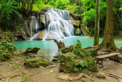 Canvastavlor Huai Mae Khamin vattenfall i Kanchanaburi, Thailand.