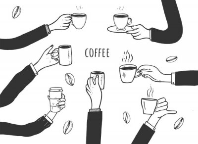 Canvastavlor Human hands with cups of coffee set