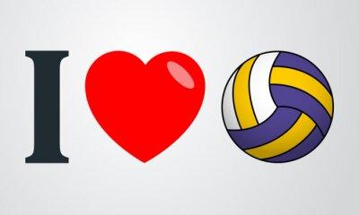 Canvastavlor Icono plano jag älskar voleibol färg en fondo degradado