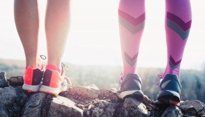 Canvastavlor idrottsman som kör sport fötterna på spår hälsosam livsstil fitness