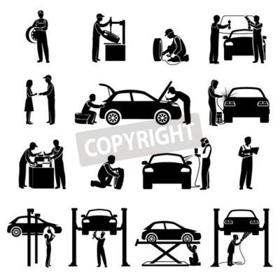 Canvastavlor ikoner Auto Service svart set med mekaniker och bilar siluetter isolerade vektorillustration