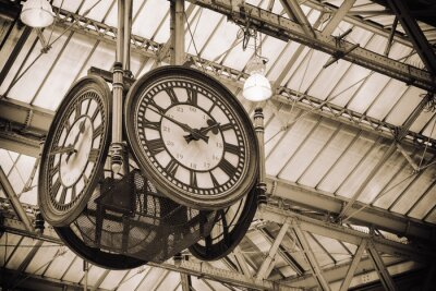 Canvastavlor ikoniska gammal klocka Waterloo Station, London