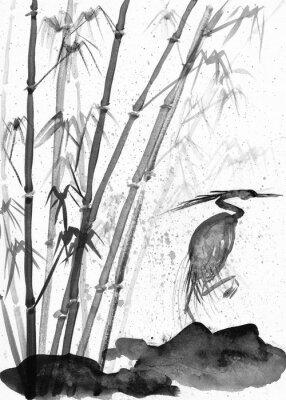 Canvastavlor illustration av akvarell häger och bambu
