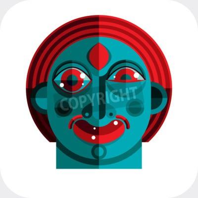 Canvastavlor illustration av bisarra modernistiska avatar, kubism tema bild. Expression på en persons ansikte.