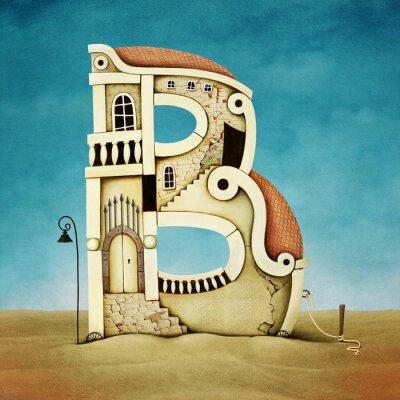 Canvastavlor Illustration av brev i form av byggnader