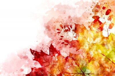 Canvastavlor Illustration av fallbild. Höstbakgrund med gula och röda lönnlöv. Digital akvarellmålning.