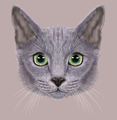 Canvastavlor Illustration av Porträtt av Russian Blue Cat. Söt Tamkatt med gröna ögon.