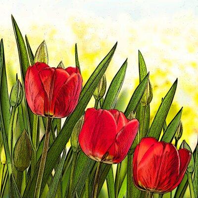 Canvastavlor illustration av röda tulpaner