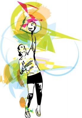 Canvastavlor Illustration av volleybollspelare spelar
