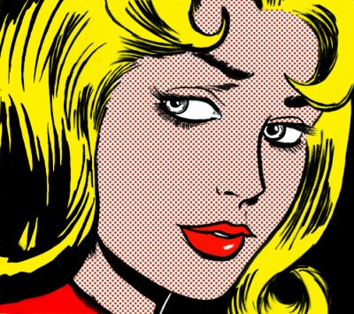 Canvastavlor illustration of a girl face in the style of 60s comic books, pop art
