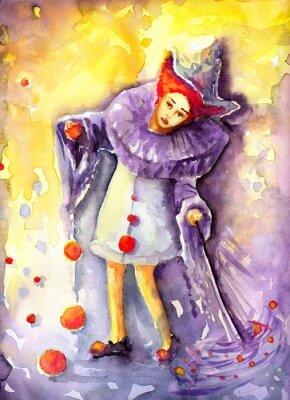 Canvastavlor illustration som visar en clown hängande bollar