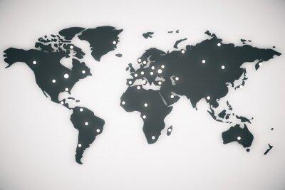 Canvastavlor Illustration världskarta med versaler, 3d