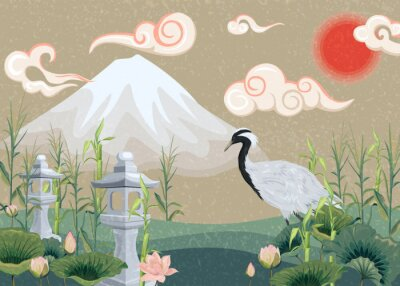 Canvastavlor illustration with mountain, crane, lotuses and lanterns