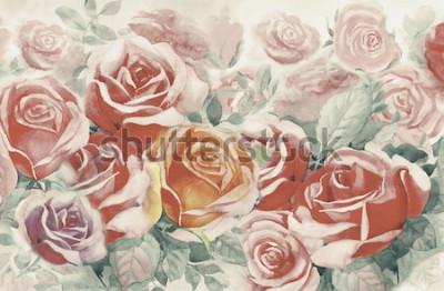 Canvastavlor Illustrationen målade våren blommar färgglada gäng rosor i trädgården och känslor i realistisk tappning med abstrakt blå bakgrund, akvarell landskap originalmålning, för gratulationskort.