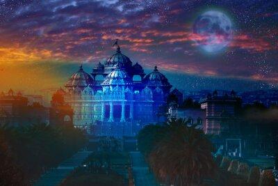Canvastavlor Indien. Delhi.temple Akshardham med ljus av fullmånen.