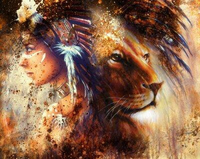 Canvastavlor indisk kvinna som bär fjäder huvudbonad med lejon och abstrakt färg collage