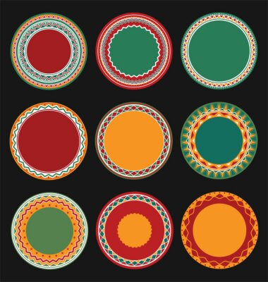 Canvastavlor Insamling av mexikanska Round dekorativ kant ramar med svart Fylld Bakgrund
