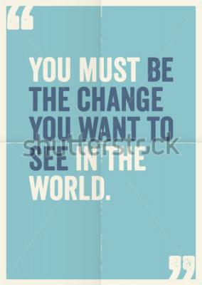 Canvastavlor Inspirerande motivativa citat av Mahatma Gandhi, på affischbakgrund.