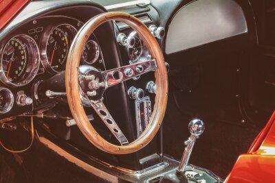 Canvastavlor Instrumentbrädan i en klassisk bil