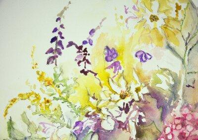 Canvastavlor Intryck av en blandning av vilda blommor. Den badda teknik nära kanterna ger en mjuk fokus effekt på grund av den förändrade ytjämnhet av papperet.