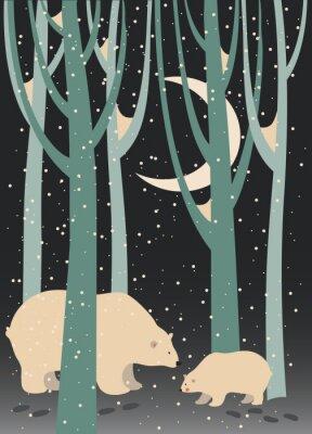 Canvastavlor Isbjörn och gröngöling i skogen